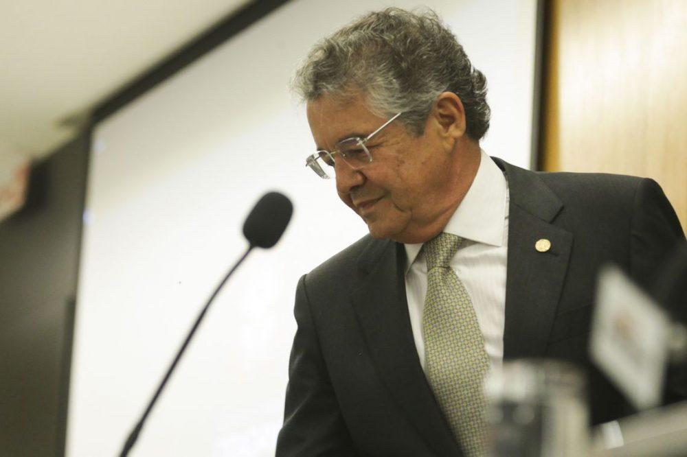 O ministro do Supremo Tribunal Federal (STF) Marco Aurélio Mello  durante abertura do seminário Democracia e eleições: desafios contemporâneos, no UniCEUB – Centro Universitário de Brasília.